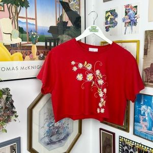 Vintage Flower & Butterfly Cropped T-Shirt